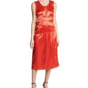 Helmut Lang Ruched Satin Tank Dress